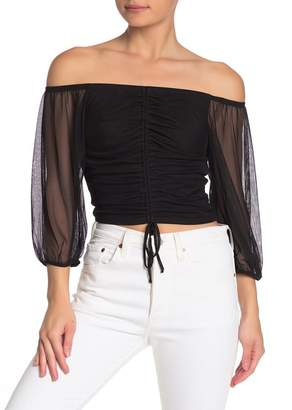 Free Press Gathered Mesh Off-the-Shoulder Top