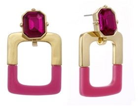 Christian Siriano New York Gold Tone and Pink Resin Doorknocker Earrings