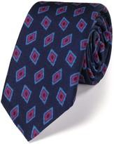 Charles Tyrwhitt Navy luxury wool diamond print slim tie