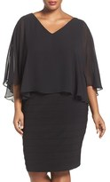 Adrianna Papell Plus Size Women's Chiffon Capelet Banded Sheath Dress