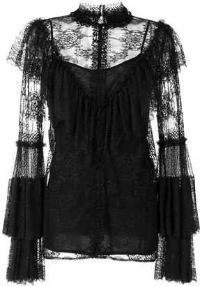 Costarellos Embroidered Lace Blouse