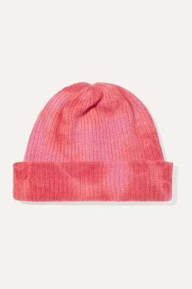 The Elder Statesman Tie-dyed Ribbed Cashmere Beanie - Pink