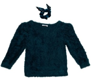 Beautees Beautess Girls Fuzzy Crew Neck Sweater with Matching Scrunchie