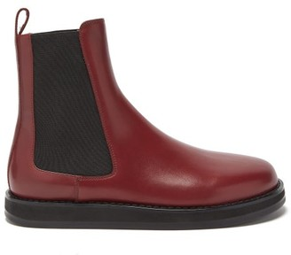 The Row Gaia Leather Chelsea Boots - Burgundy