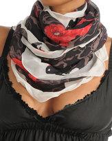 Poppy Scarf - Black w/Poppy Print