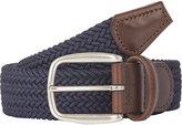 Barneys New York Men's Woven Elastic Belt-NAVY