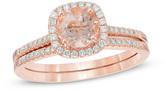 Zales Precious BrideTM 6.0mm Morganite and 1/4 CT. T.W. Diamond Frame Bridal Set in 14K Rose Gold