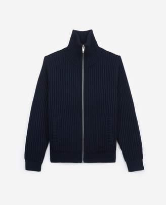 The Kooples Zipped, chunky-knit blue wool cardigan