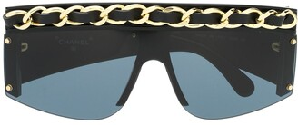 Chanel Pre Owned Chain-Trim Square-Frame Sunglasses