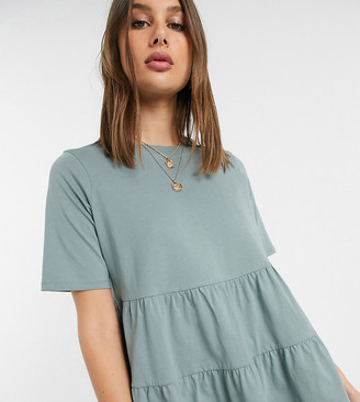 Asos Tall DESIGN Tall tiered smock top with short sleeve-Green