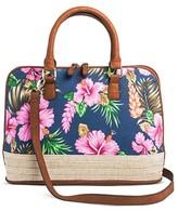 Bueno Women's Jute Canvas Satchel Handbag with Floral Design and Zip Closure - Multicolor
