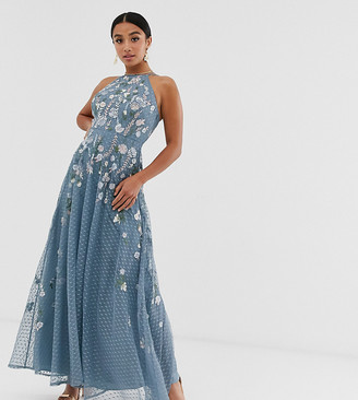 ASOS DESIGN Petite maxi dress with pinny bodice in embroidered dobby