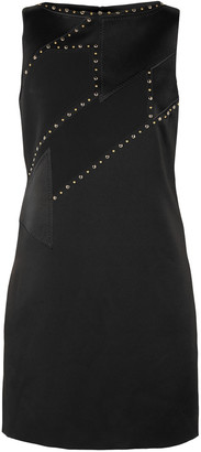 Versace Studded Satin And Crepe Mini Dress