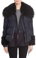 Moncler 'Amelie' Water-Resistant Down Coat with Genuine Mongolian & Genuine Kalgan Lamb Fur Trim