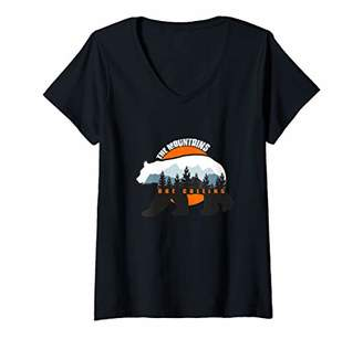 Womens The Mountains are Calling - Nature Loving Trail Hiking V-Neck T-Shirt