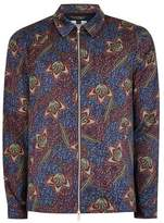 Topman Mens Purple And Blue Floral Zip Through Long Sleeve Overshirt