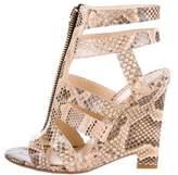 Jerome C. Rousseau Snakeskin Multistrap Sandals