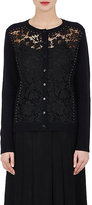 Valentino Women's Lace-Front Wool-Cashmere Cardigan-BLACK