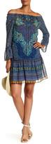 Sandra Darren Printed Ruffle Trim Off-The-Shoulder Dress