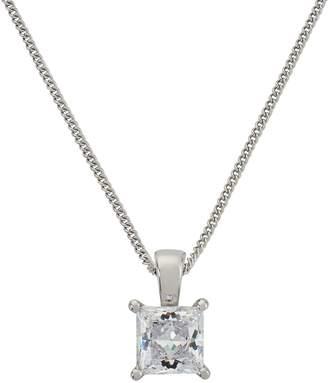 Revere Silver Princess Cut Cubic Zirconia 18 Inch Necklace