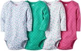 Carter's Baby Girls 4 Pack Long Sleeve Bodysuits (Dots Flowers)