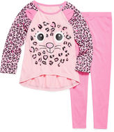 Asstd National Brand Girls 2 PC Critter Pant Pajama Set-Toddler