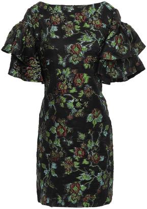 Badgley Mischka Tiered Brocade Mini Dress