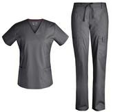 Pandamed Women's Scrubs Bottoms PEWTER - Pewter Stretchy V-Neck Scrub Top & Drawstring Scrub Pants - Women