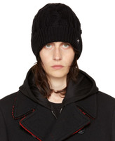 Versace Black Cable Knit Beanie