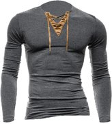 uxcell® Man Lace-up Upper V Neck Long Sleeves Slipover Casual T-shirt M