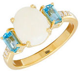 Lord & Taylor Diamond, Blue Topaz and 14K Yellow Gold Ring