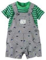 Carter's 2-Piece Dino Shortalls and Shirt Set in Grey/Green