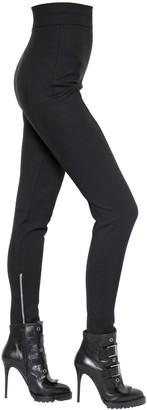 Alexander McQueen High Waisted Stretch Wool Pants