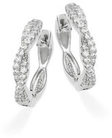 Crislu Cubic Zirconia and Sterling Silver Twist Hoop Earrings, 0.75 in