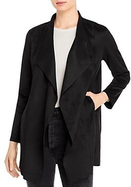 T Tahari Faux-Suede Drape-Front Jacket