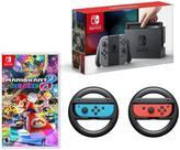 "Nintendo Gray Switch Bundle with 2 Joy-Con Wheels and ""Mario Kart 8 Deluxe"" Game"