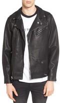 Obey Men's Bastards Faux Leather Biker Jacket