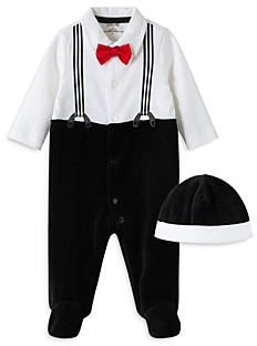 Little Me Boys' Charming Suspender Footie & Hat Set - Baby