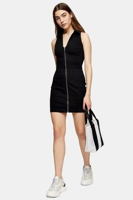 Topshop Womens Black Collar Zip Joni Dress - Black