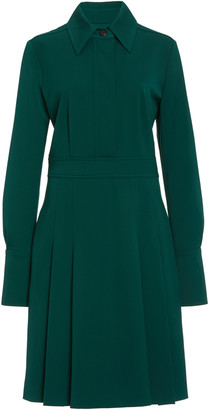 Victoria Victoria Beckham Pleated Crepe Midi Shirt Dress