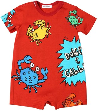 Dolce & Gabbana Crab Print Cotton Jersey Romper
