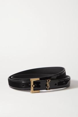 Saint Laurent Monogramme Glossed-leather Belt - Black
