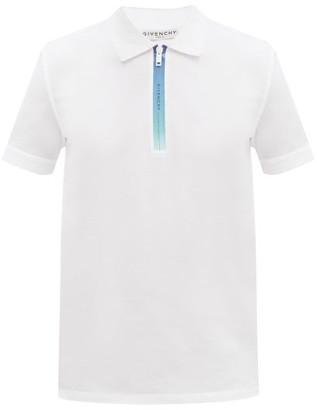 Givenchy Ombre-zipped Cotton-pique Polo Shirt - White