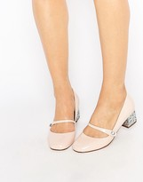 Miss KG Nylah Nude Patent Glitter Kitten heel Shoes