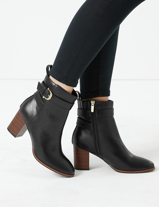 Marks and Spencer Side Buckle Block Heel Ankle Boots