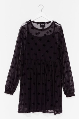 Nasty Gal Womens PLUS STAR MESH SMOCK DRESS - Black