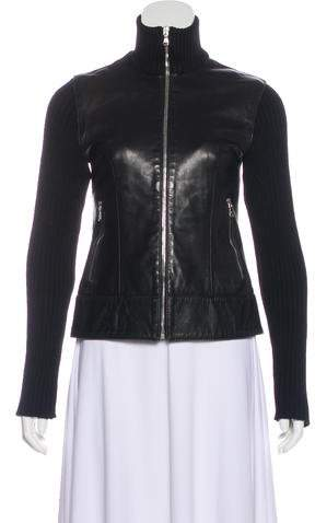 Dolce & Gabbana Knit-Accented Leather Jacket