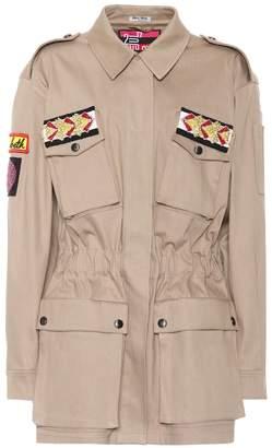 Miu Miu Embellished cotton-blend jacket