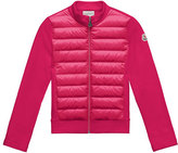 Moncler Maglia Knit Zip Cardigan w/ Down Front, Fuchsia, Size 4-6