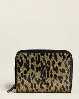 Saint Laurent Leopard Monogram Compact Zip-Around Wallet